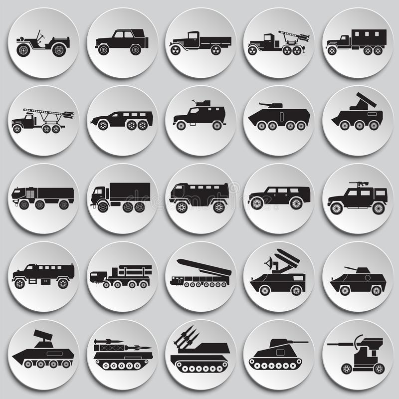 Military vehicles icons set on plates background for graphic and web design. Simple vector sign. Internet concept symbol royalty free illustration