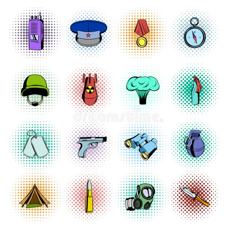 Military and war comics icons. Set isolated on white background stock illustration