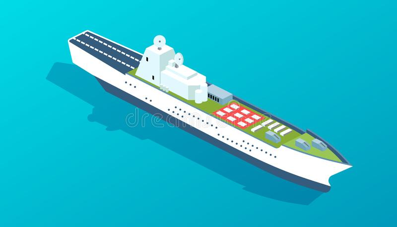 Military warship with military training ground, landing strip for aircraft. royalty free illustration
