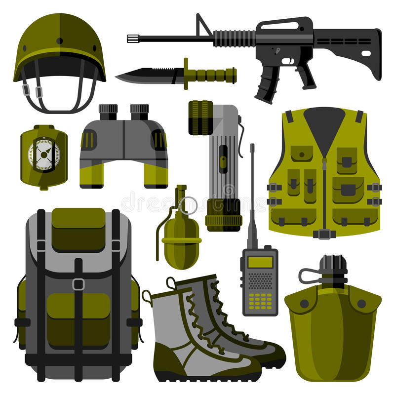 Military weapon guns symbols vector illustration royalty free illustration