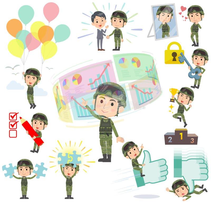 Military wear man success & positive. Set of various poses of military wear man success & positive royalty free illustration