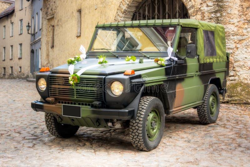 Military wedding vehicle royalty free stock image