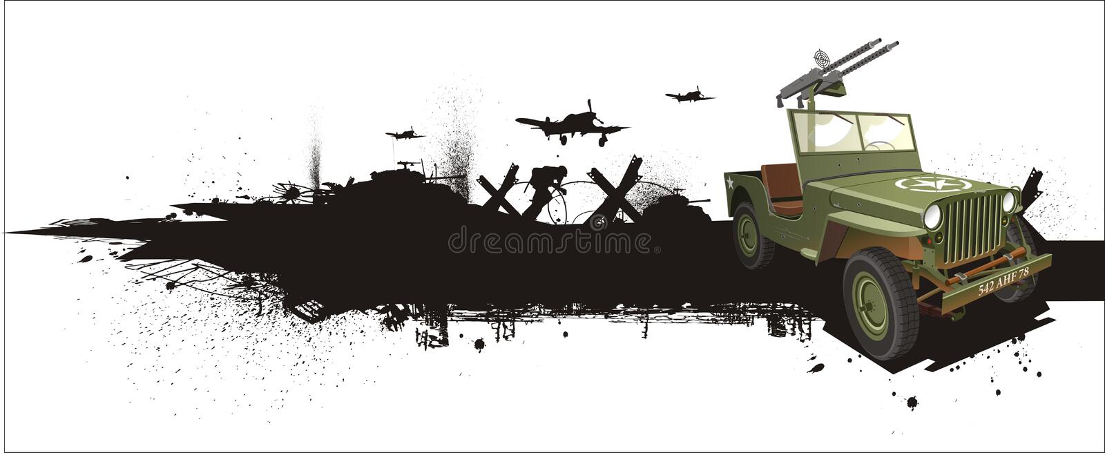 Military Willis Jeep In Grune Style Stock Photo