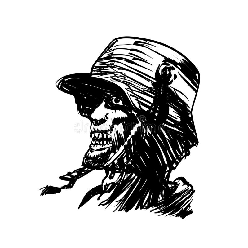 Military zombie engraving. Vector illustration stock illustration
