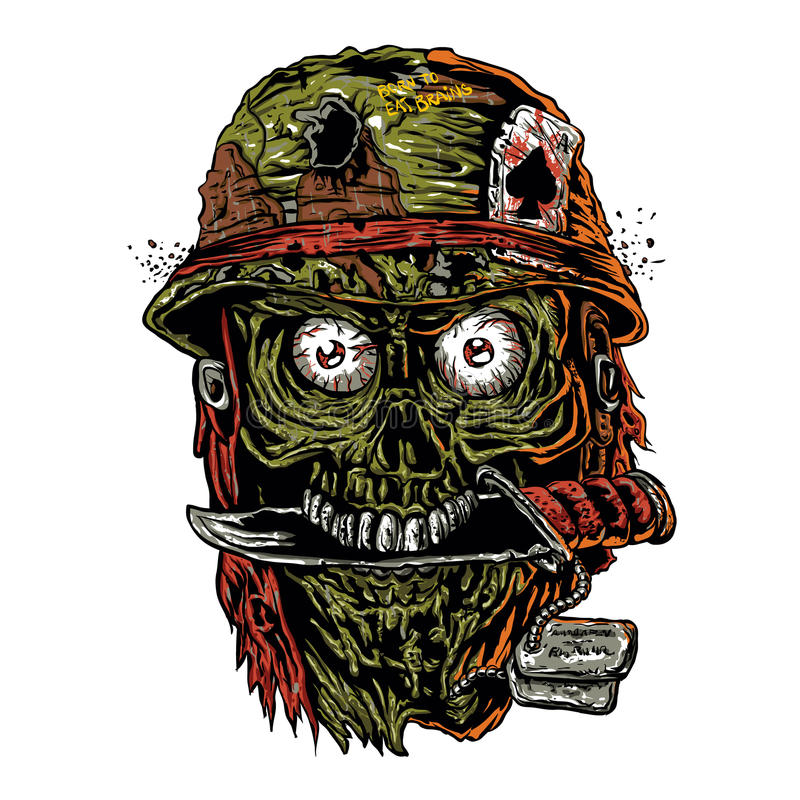 Military zombie with knife in mouth royalty free illustration