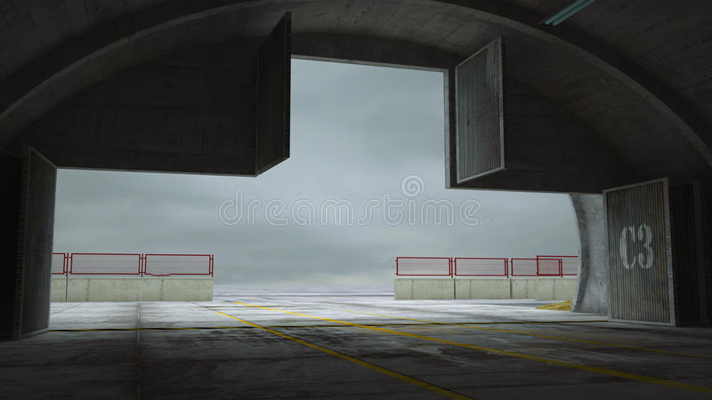 Militay基地,飞机棚,地堡 内部 皇族释放例证