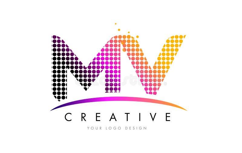 Milivoltio M V Letter Logo Design con los puntos magentas y Swoosh libre illustration