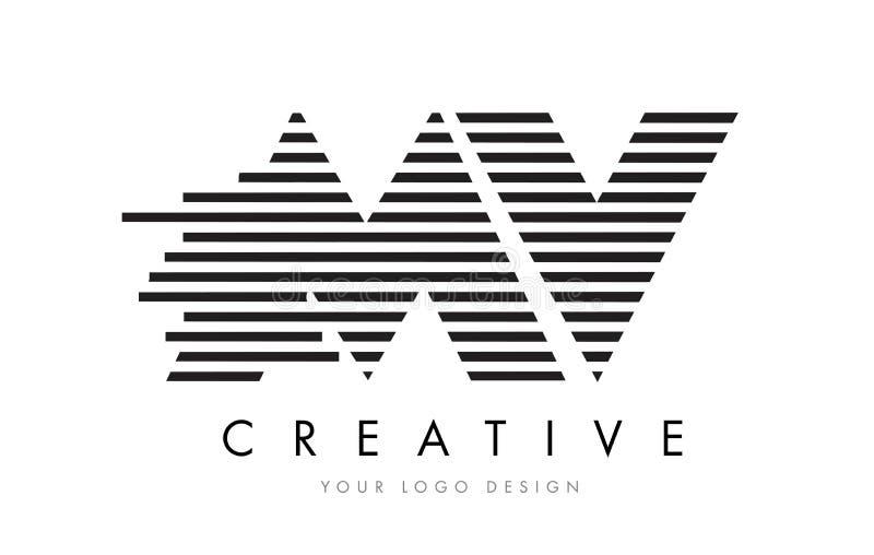 Milivoltio M V Zebra Letter Logo Design con las rayas blancos y negros libre illustration