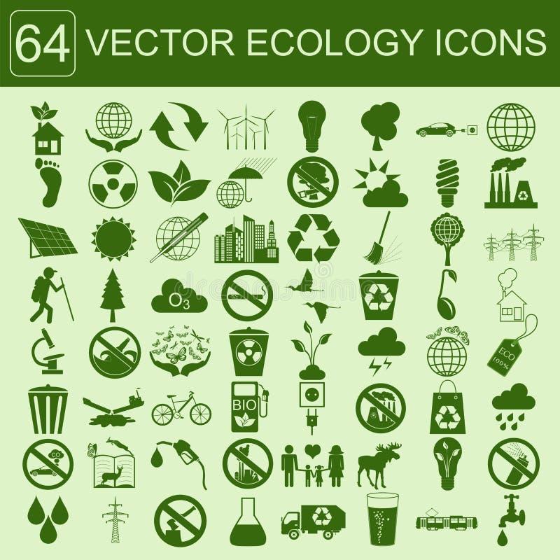 Miljö ekologisymbolsuppsättning Miljö- risker, ekosystem royaltyfri illustrationer