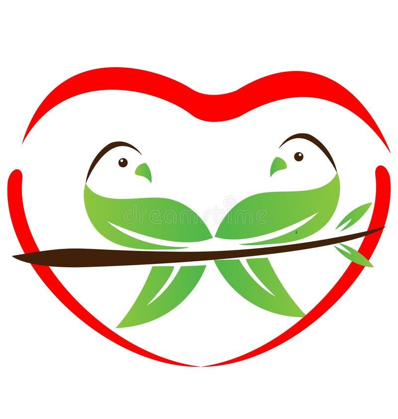 Miljö- förälskelseduvasymbol royaltyfri illustrationer