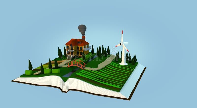 Miljö i en bok stock illustrationer
