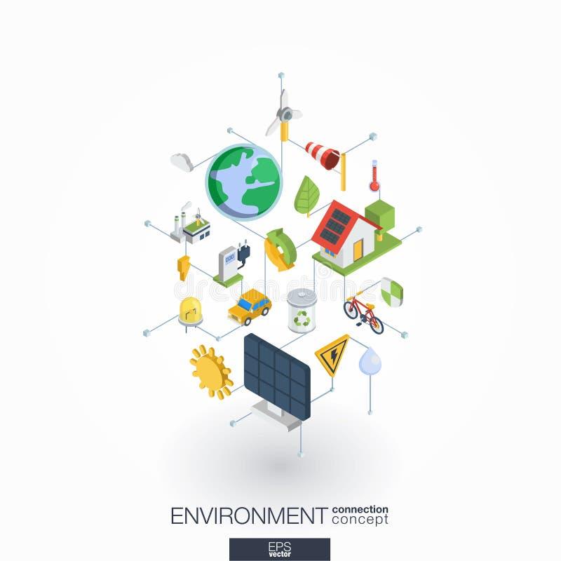 Miljö- inbyggda symboler för rengöringsduk 3d Isometriskt begrepp för Digitalt nätverk stock illustrationer