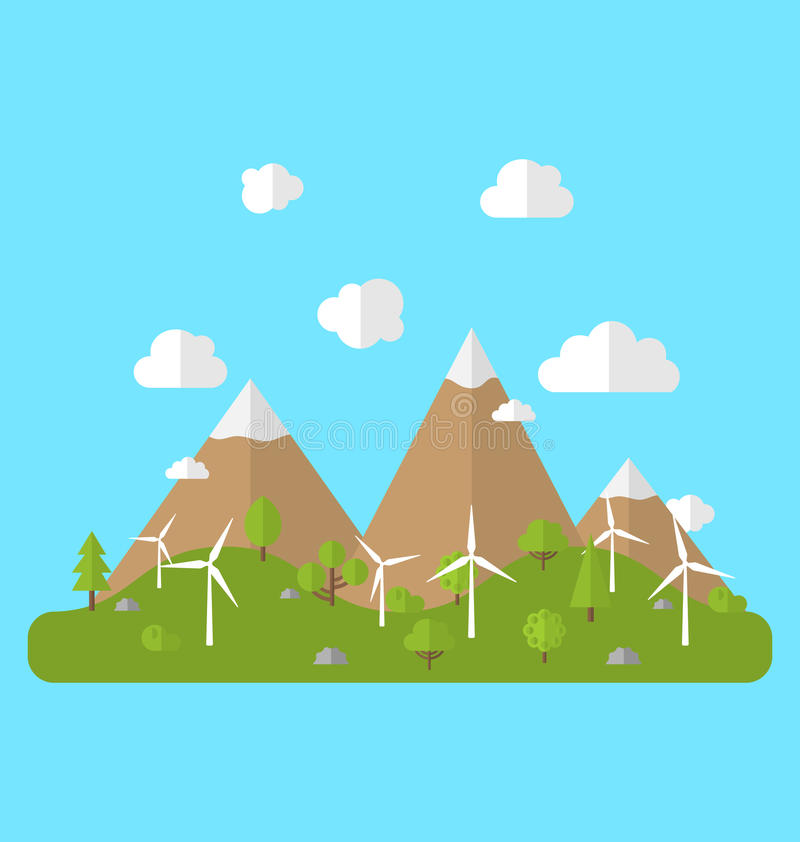 Miljö med vindgeneratorer stock illustrationer