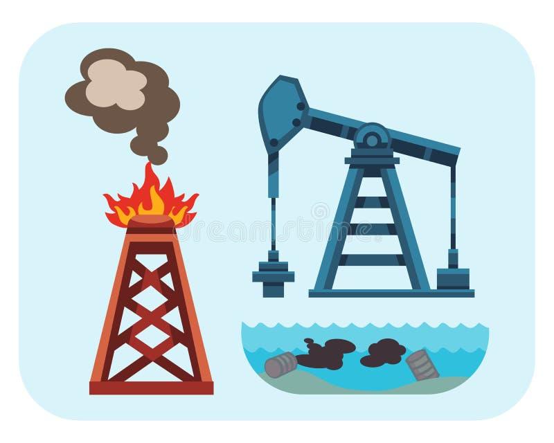 Miljö- olje- förorening för ekologiska problem av vattenjordvektorn royaltyfri illustrationer