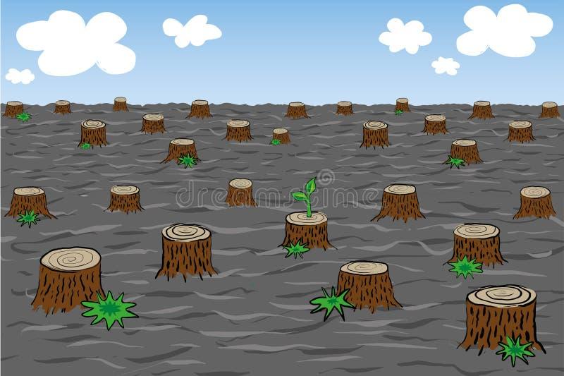 Miljö- problem av skogsavverkning stock illustrationer