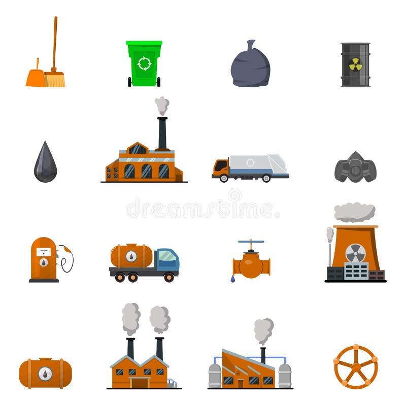 Miljöbelastningsymbolsuppsättning stock illustrationer