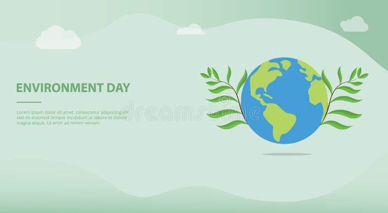 Miljödagbegrepp med stor jord och den gröna växten med lagfolk och ord för mall eller att landa för website homepage-banret stock illustrationer