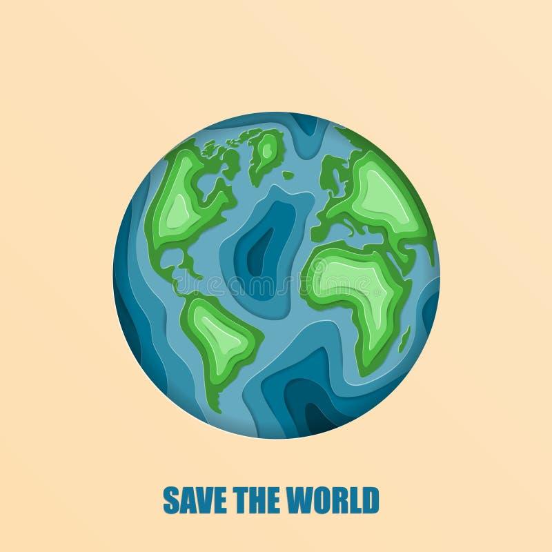 MiljöEco vänligt begrepp i pappers- klippt stil Världsjorddag 22 April Origamin gjorde jord med att bukta världskartan med royaltyfri illustrationer