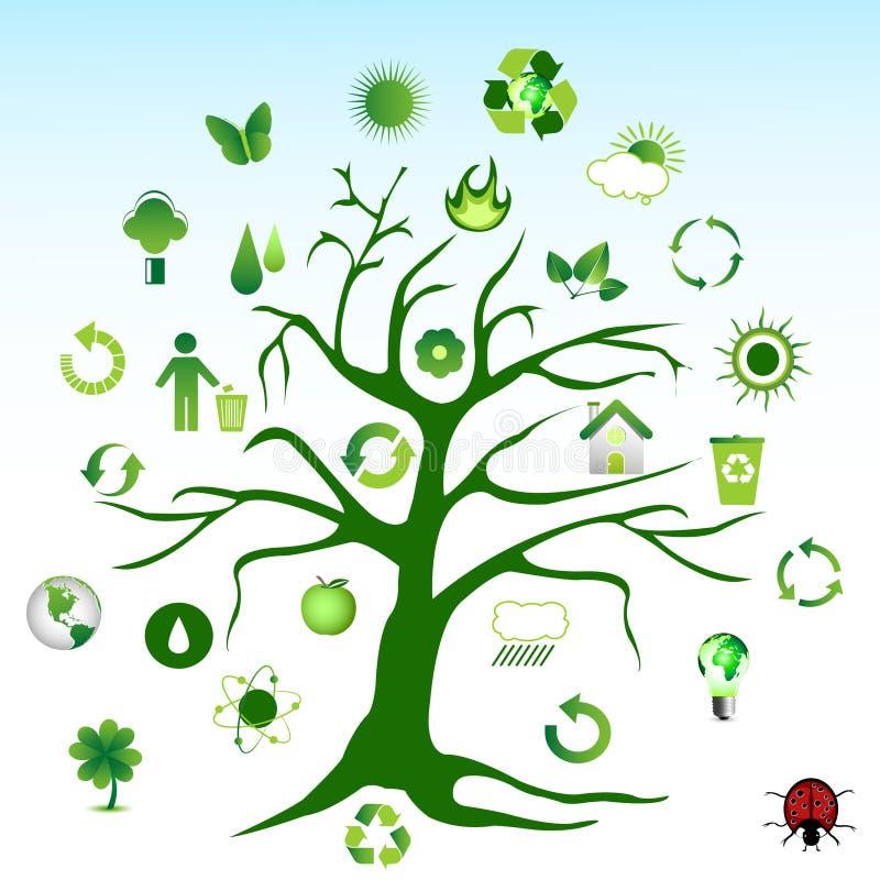 miljögrön symbolstree stock illustrationer