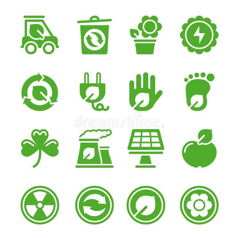 miljögröna symboler royaltyfri illustrationer