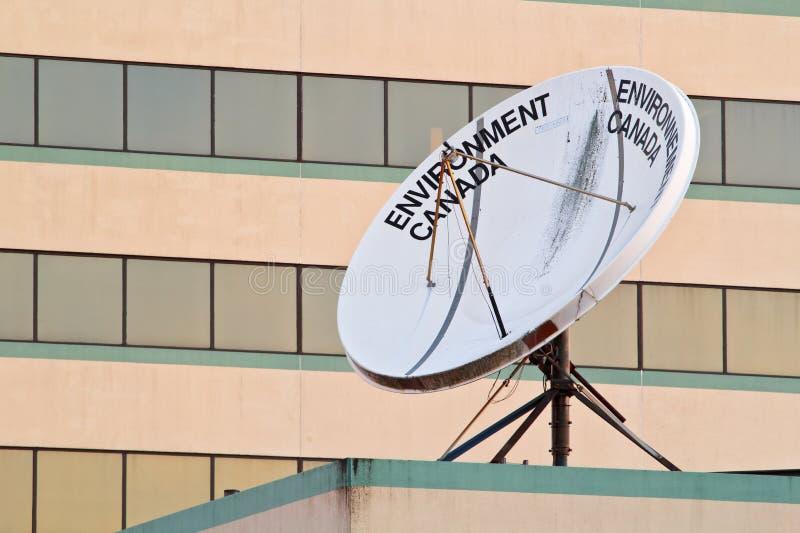 MiljöKanada satellit- maträtt royaltyfria bilder