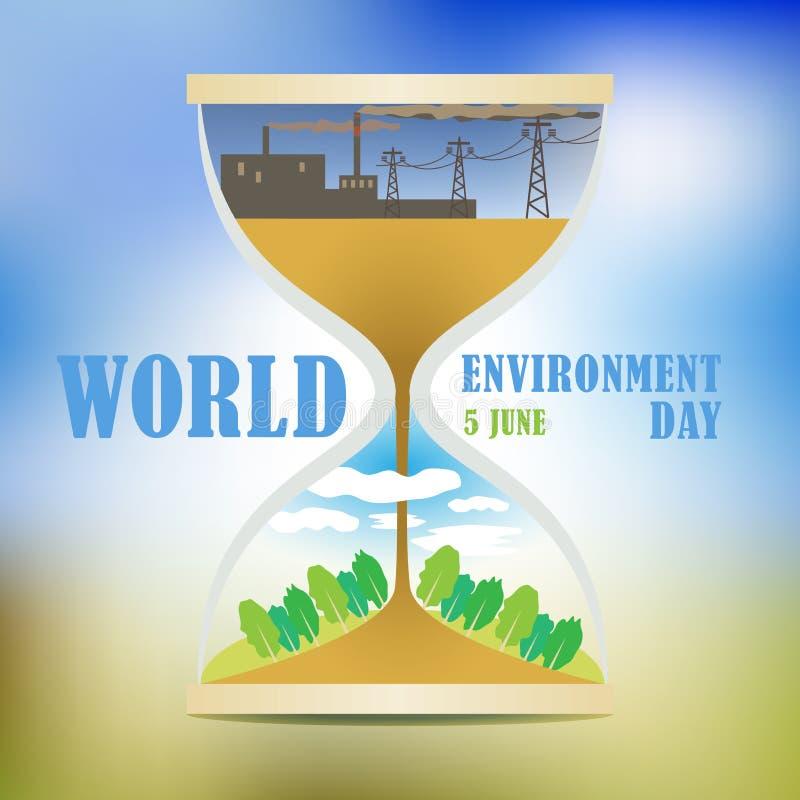 miljön för dagen för banerfjärilen blommar den celebratory gulliga nyckelpigaöversiktsvärlden Lösningen till föroreningproblemen  royaltyfri illustrationer