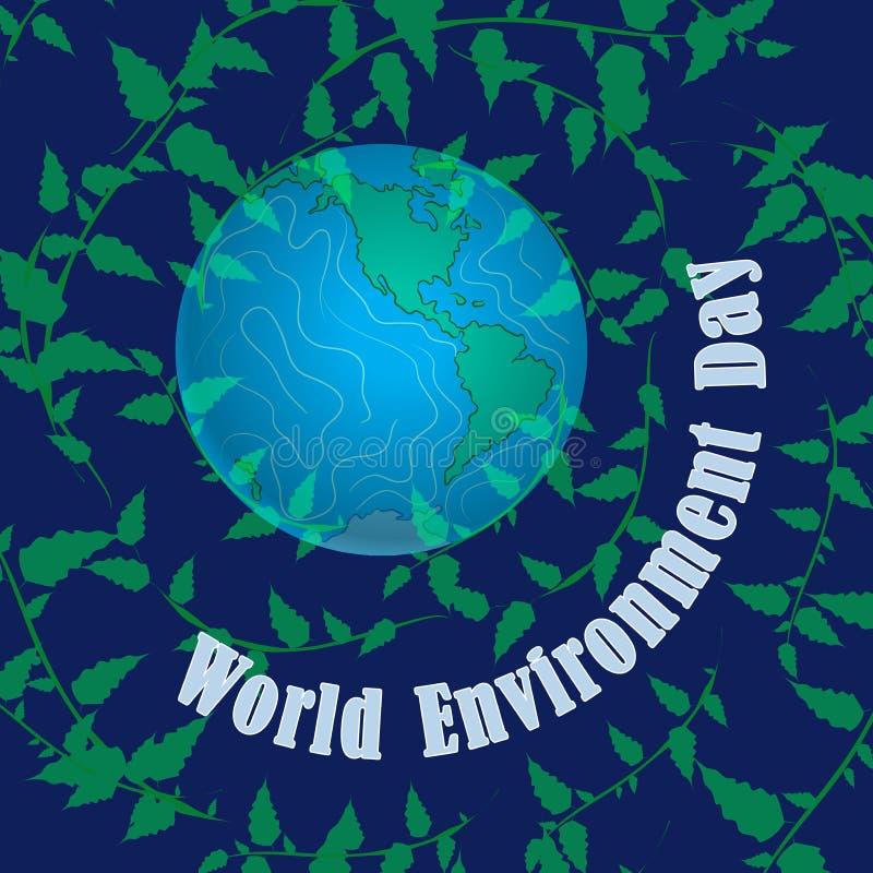 miljön för dagen för banerfjärilen blommar den celebratory gulliga nyckelpigaöversiktsvärlden Vår hem- planetjord Gynnsam miljö,  stock illustrationer