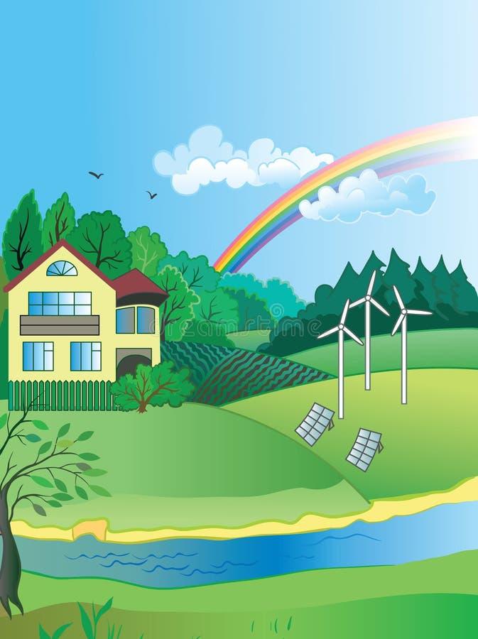 Miljöskydd- och gräsplanenergi royaltyfri illustrationer