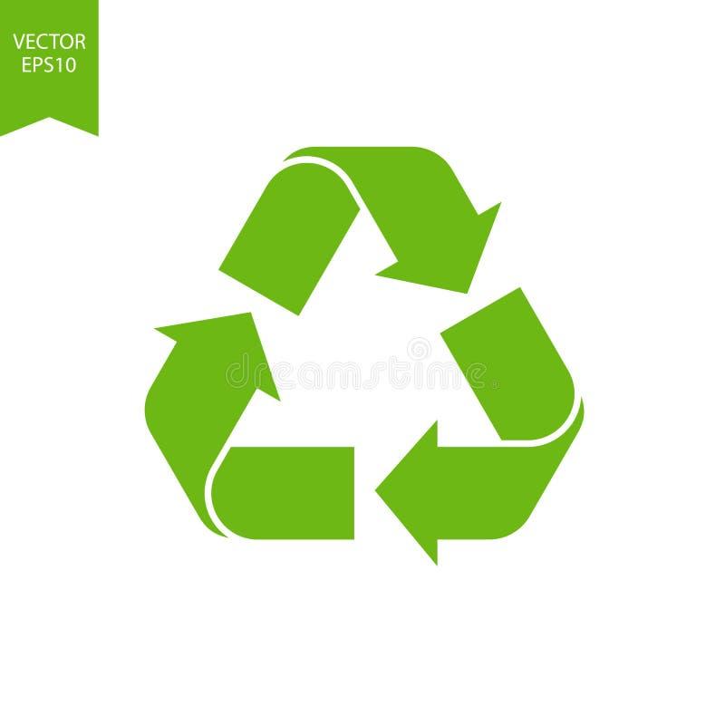 Miljösymbol för återvinning, ikon för biologiskt nedbrytbar Återvunna cykelpilar isolerade Grön förnyelse av jordens miljö Papper stock illustrationer