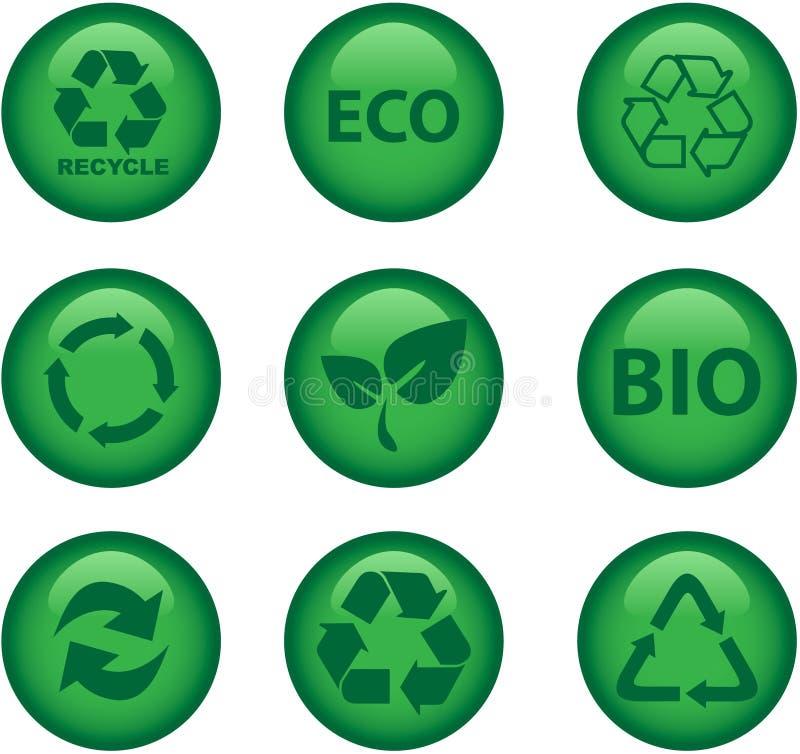 miljösymboler återanvänder stock illustrationer