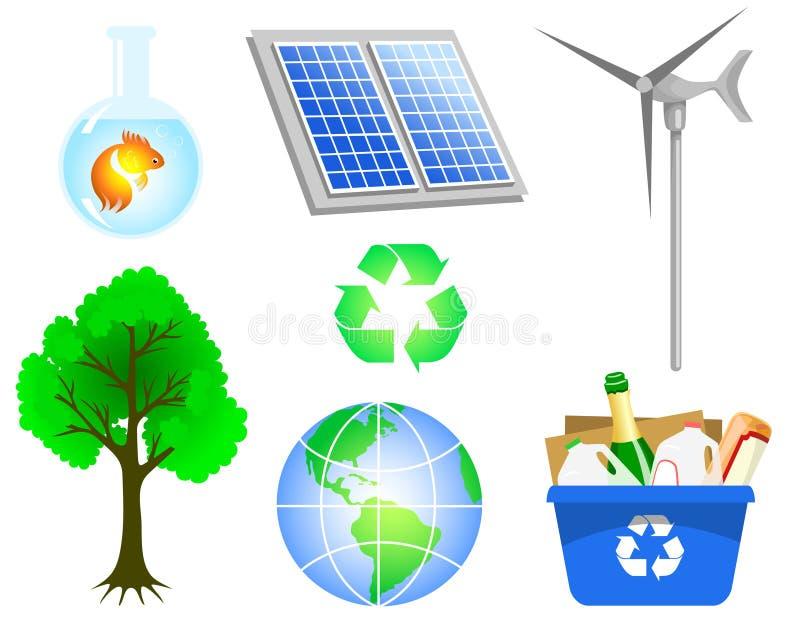 miljösymboler royaltyfri illustrationer