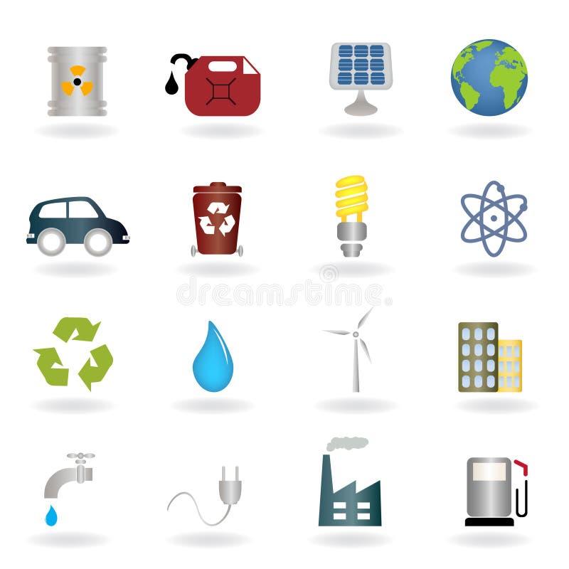 miljösymboler stock illustrationer