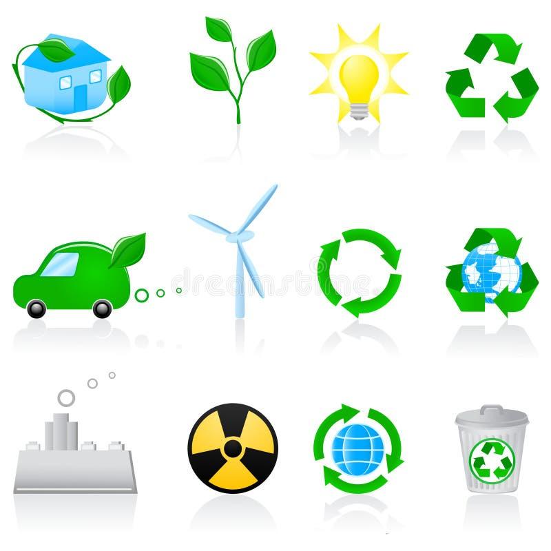 miljösymbolsset stock illustrationer