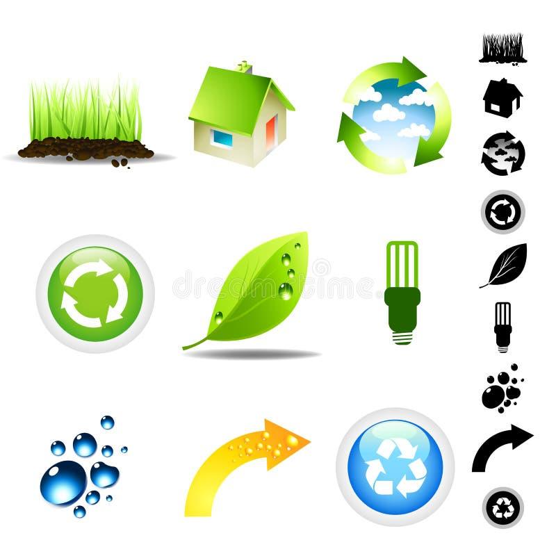 miljösymbolsset royaltyfri illustrationer