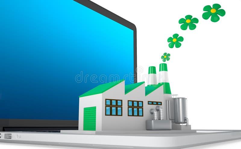 Miljövänligt fabriksbegrepp vektor illustrationer