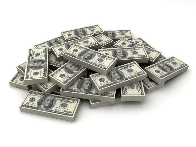 Miljonerdollar i en bunt av $100 bills stock illustrationer