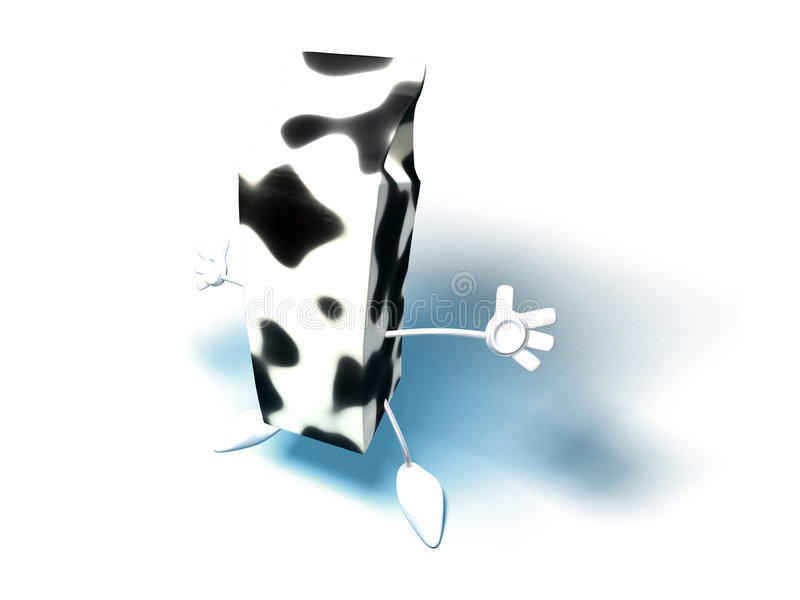 Milk. Carton with hands and feet stock illustration