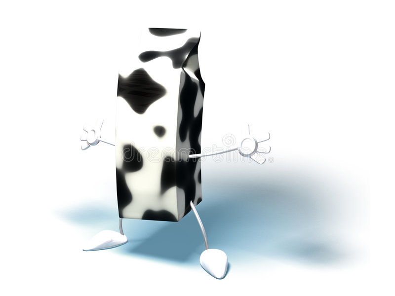 Milk. Carton with hands and feet royalty free illustration