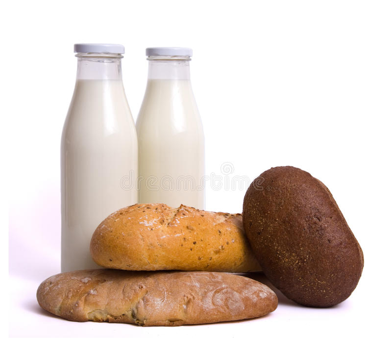 Milk bottle bread royalty free stock images