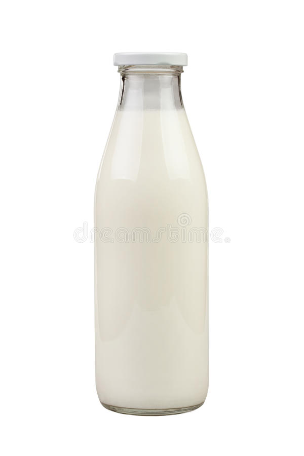 Milk bottle glass stock photos