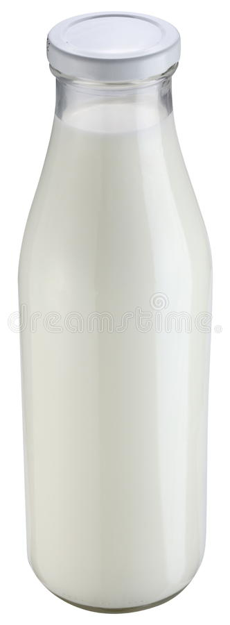 Milk bottle isolated on a white background. royalty free stock photography
