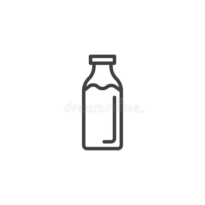 Milk bottle line icon. Outline vector sign, linear style pictogram isolated on white. Symbol, logo illustration. Editable stroke stock illustration
