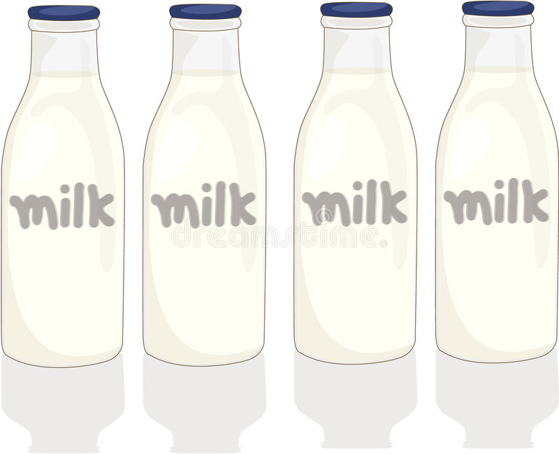 Milk bottles stock illustration
