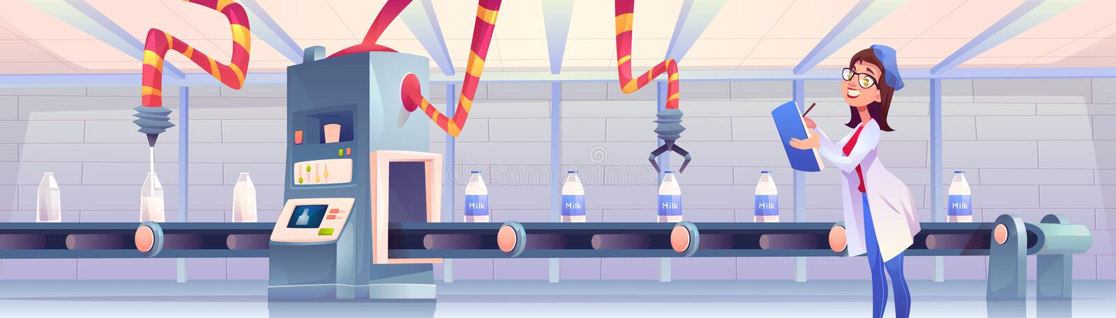 Milk bottles on factory conveyor with robotic arms. Milk bottles on factory conveyor belt with robotic arms pouring and packing production on transporter line vector illustration