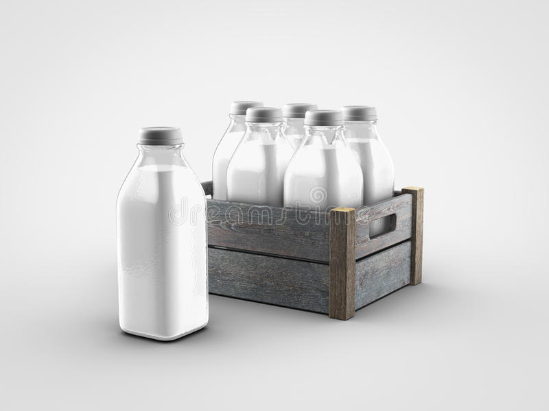 Milk bottles vector illustration