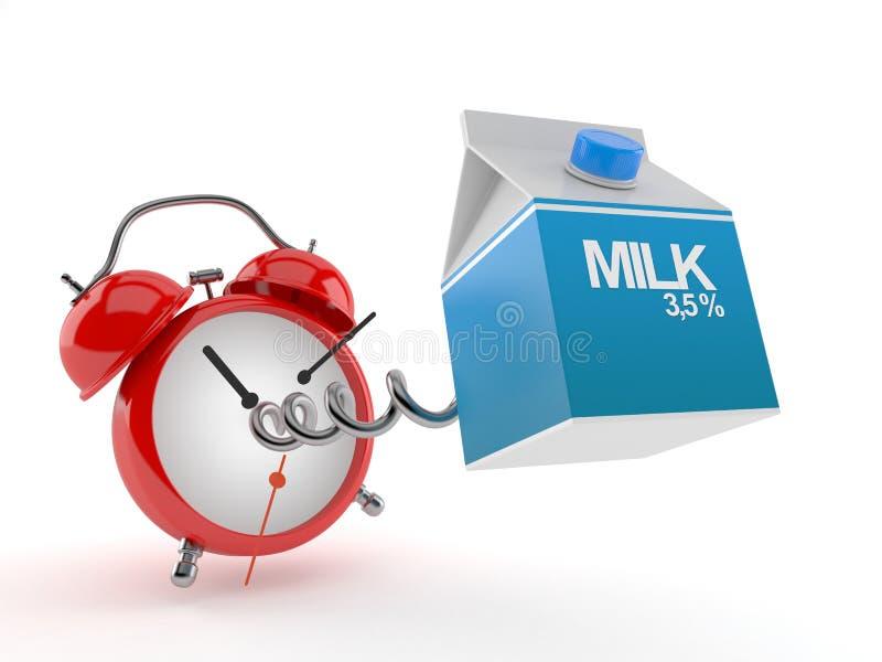Milk box with alarm clock stock illustration