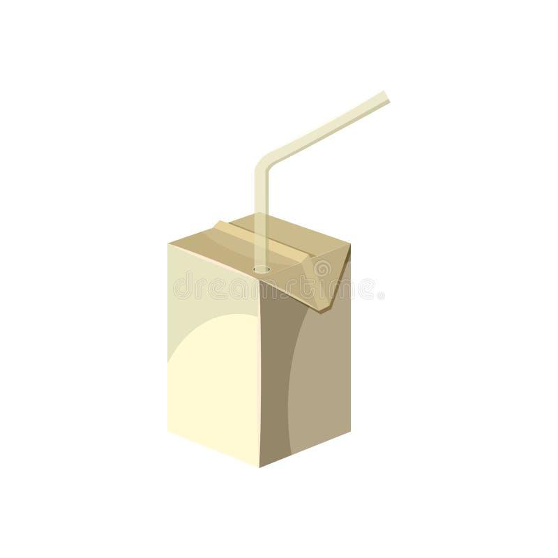 Milk box with drinking straw icon, cartoon style vector illustration