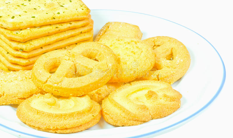 Download Milk Butter Cookies On White Dish Is Isolate Stock Photo - Image: 30498902