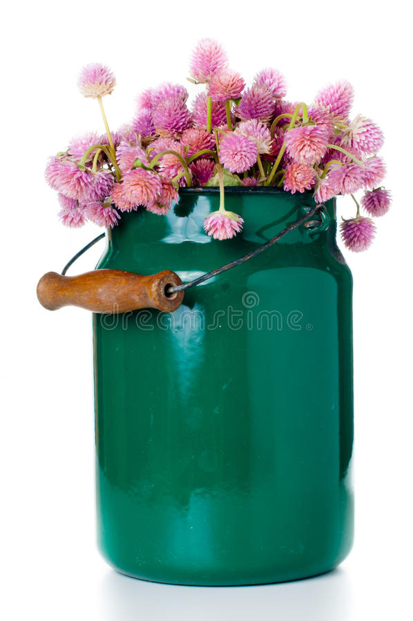 Milk can and a bouquet royalty free stock photo