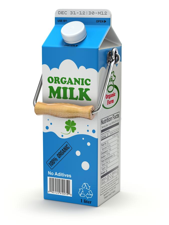 Milk can package concept with milk box stock illustration